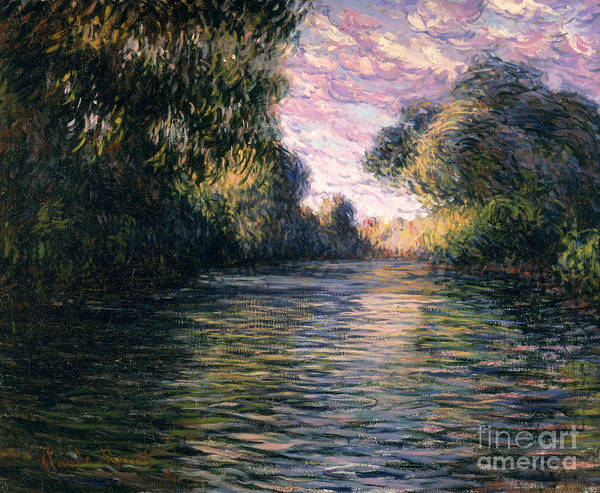 Impressionist;river;landscape;matin Art Print featuring the painting Morning On The Seine by Claude Monet