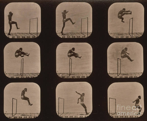 Photography Art Print featuring the photograph Muybridge Locomotion Of Man Jumping by Photo Researchers