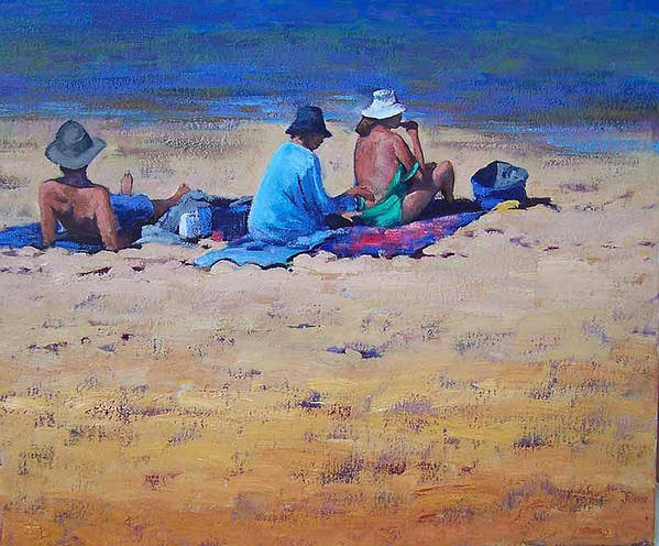Beach Art Print featuring the painting Sunbathers by Graham Gercken