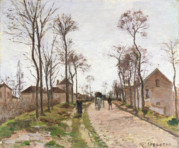 The Art Print featuring the painting The Road To Saint Cyr At Louveciennes by Camille Pissarro