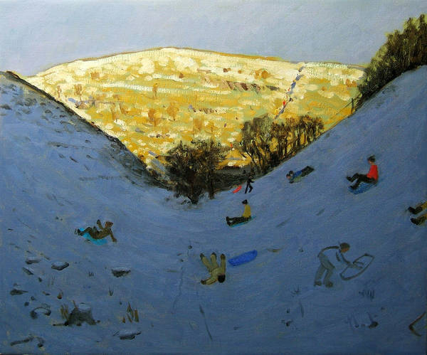 Sledging Art Print featuring the painting Valley And Sunlit Hillside by Andrew Macara
