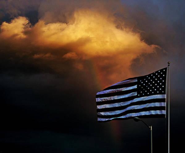Flag Art Print featuring the photograph Weathering The Storm by Matthew Winn