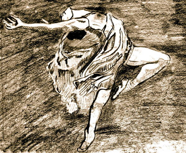 Sketch Art Print featuring the drawing Dancer by Dan Earle