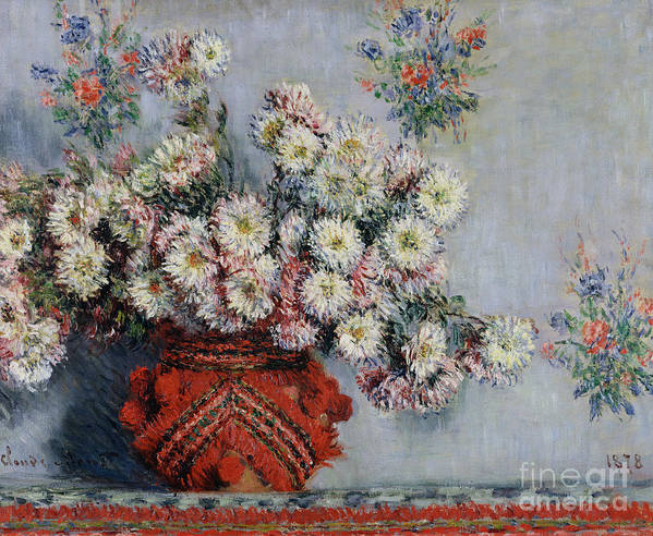 Chrysanthemums Print featuring the painting Chrysanthemums by Claude Monet