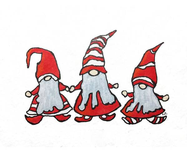 Gnome Art Print featuring the drawing Gnomes by Cristina Stefan