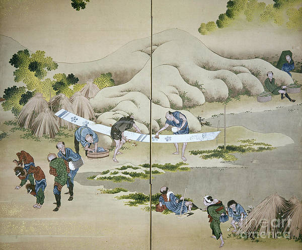 18th Century Art Print featuring the photograph Japan: Cotton Processing by Granger