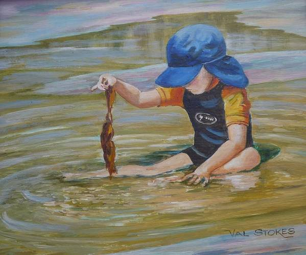 Seascape Art Print featuring the painting Seaweed Search by Val Stokes