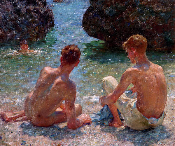 Nude Art Print featuring the painting The Critics by Henry Scott Tuke