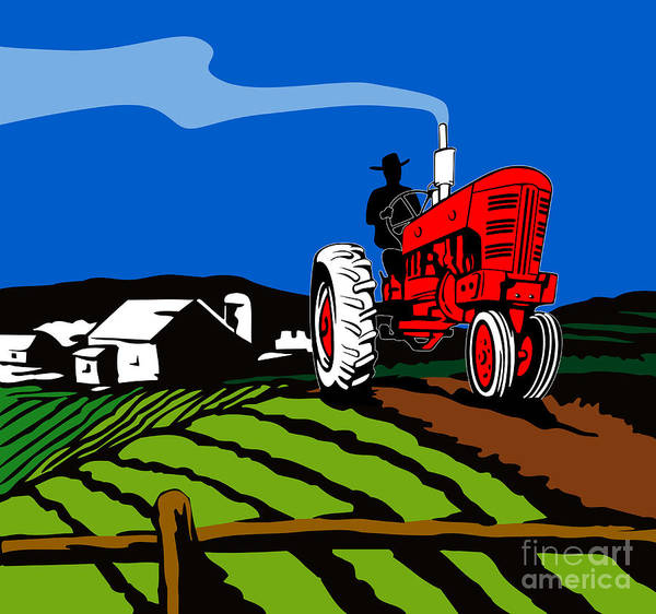 Tractor Art Print featuring the digital art Vintage Tractor Retro by Aloysius Patrimonio