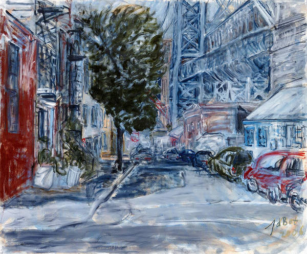 Cityscape Industrial Tree Cars Blue Grey Bridge Art Print featuring the painting Williamsburg2 by Joan De Bot