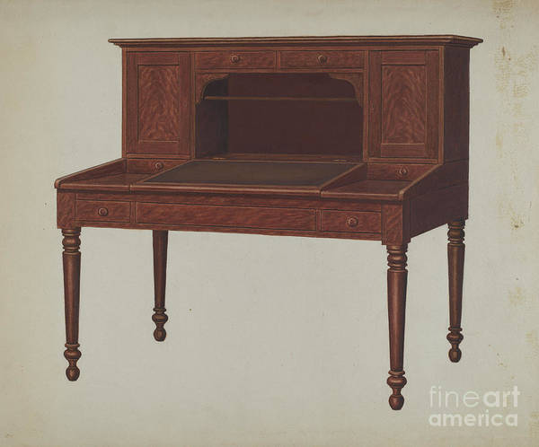 Art Print featuring the drawing Desk by Frank Wenger