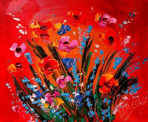 Red Poppies Art Print featuring the painting Flowers by Mark Kazav