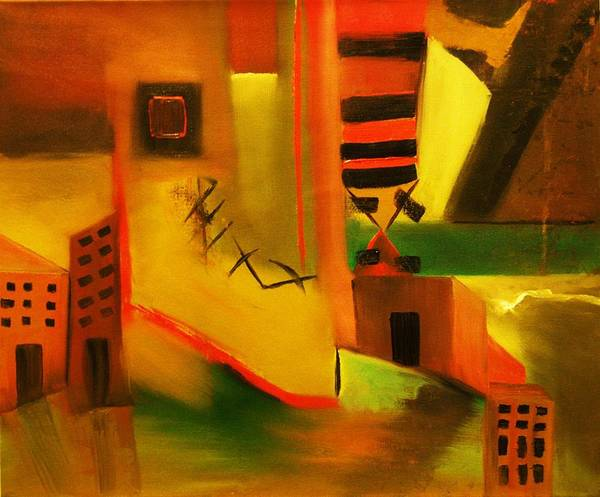 Abstract Art Print featuring the painting Abstract Cityscape by Niki Sands