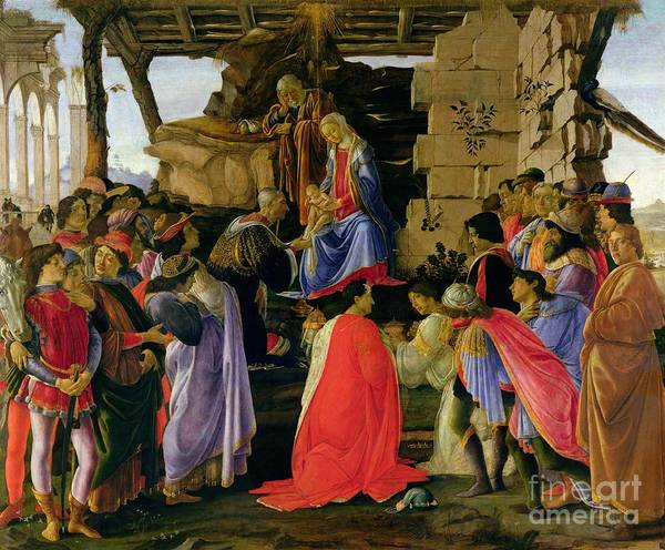 Adoration Art Print featuring the painting Adoration Of The Magi by Sandro Botticelli