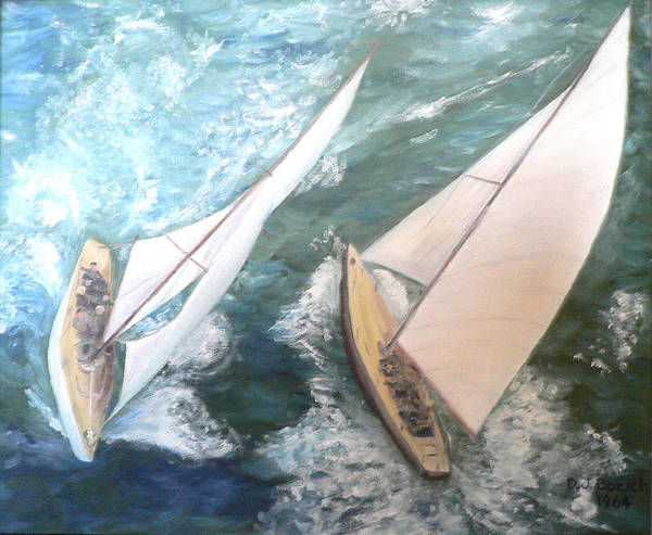 Sailing Art Print featuring the painting America by Dan Bozich