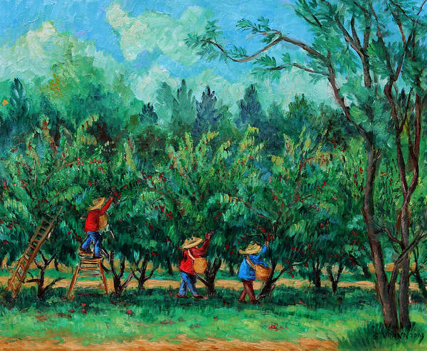 Orchard Art Print featuring the painting Apple Pickers Littletree Orchard Ithaca Ny by Ethel Vrana