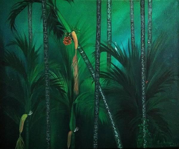 Landscape Art Print featuring the painting Areca Plam by Ratheesh Kakkat