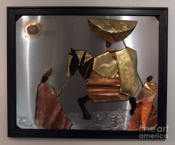 African King Scene Art Print featuring the sculpture arrival of the Oba by Jeff Williams