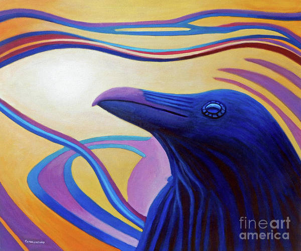Raven Art Print featuring the painting Astral Raven by Brian Commerford