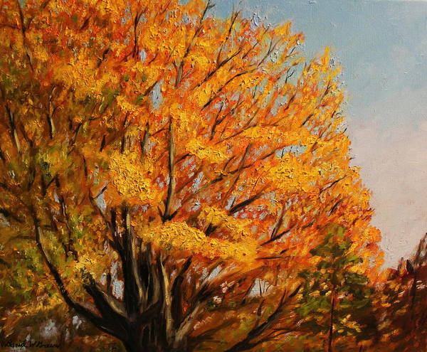 Autumn Art Print featuring the painting Autumn Leaves At High Cliff by Daniel W Green