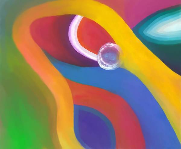Abstract Art Print featuring the drawing Being Love by Peter Shor