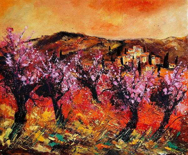 Provence Cherrytree Summer Spring Art Print featuring the painting Blooming Cherry Trees by Pol Ledent