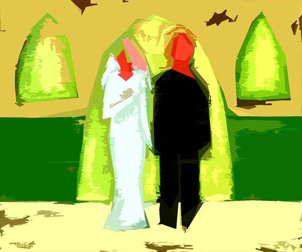 Wedding Art Print featuring the painting Blushing Bride And Groom 2 by Patrick J Murphy