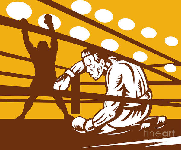 Boxing Print featuring the digital art Boxer Down On His Hunches by Aloysius Patrimonio