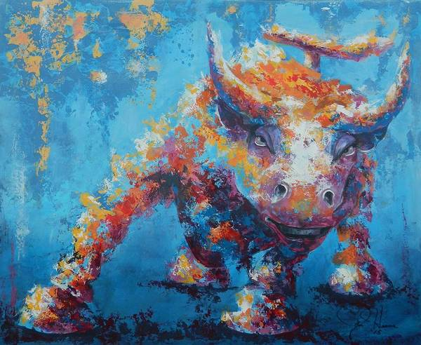 Abstract Print featuring the painting Bull Market X by John Henne