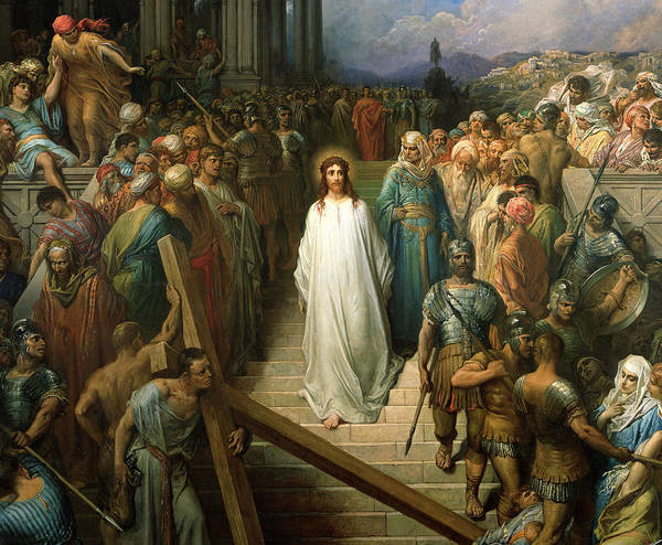 Christ Leaves His Trial Art Print featuring the painting Christ Leaves His Trial by Gustave Dore