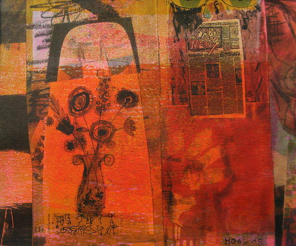 Abstract Art Print featuring the mixed media City Of Joy by Lois Hogg