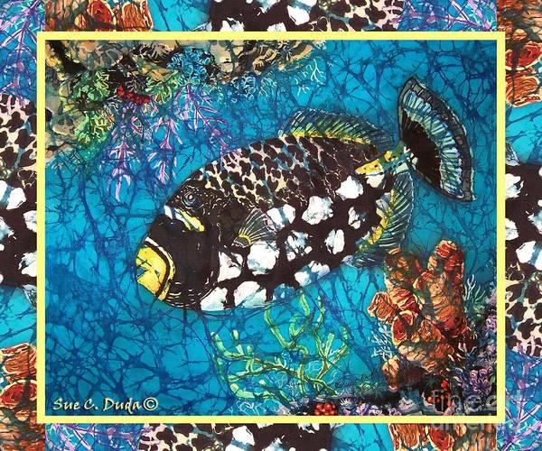 Batik Art Print featuring the painting Clown Triggerfish-bordered by Sue Duda