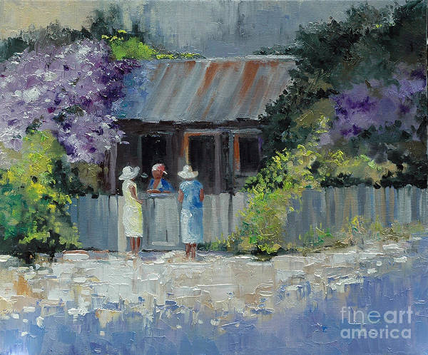 Floral Art Print featuring the painting Crape Myrtle And Ladies Of Darien by Glenn Secrest