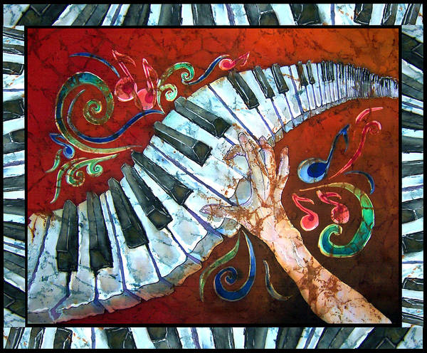 Piano Art Print featuring the painting Crazy Fingers- Piano Keyboard - Bordered by Sue Duda