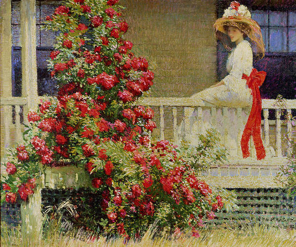 Crimson Rambler (oil On Canvas) Impressionist; Impressionism; Woman; Veranda; Climber; Climbing Plant; Bush; Flowers; Flower; Red; Summer; Sunshine; American; Idyllic; Woman Art Print featuring the painting Crimson Rambler by Philip Leslie Hale