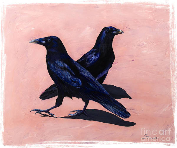 Crows Art Print featuring the painting Crows by Sandi Baker