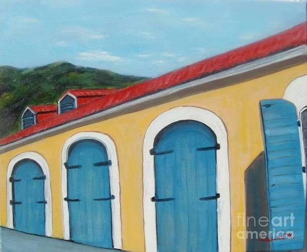 Doors Art Print featuring the painting Dutch Doors Of St. Thomas by Laurie Morgan
