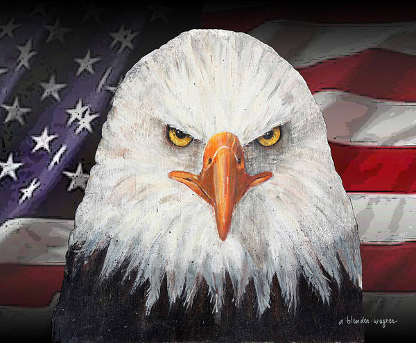 Eagle Art Print featuring the mixed media Eagle And The Flag by Arline Wagner