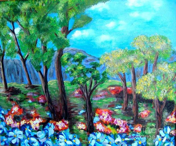 Fantasy Art Print featuring the painting Fantasy Forest by Laurie Morgan