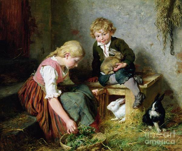 Feeding Art Print featuring the painting Feeding The Rabbits by Felix Schlesinger
