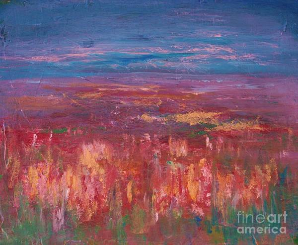 Abstract Art Print featuring the painting Field Of Heather by Julie Lueders