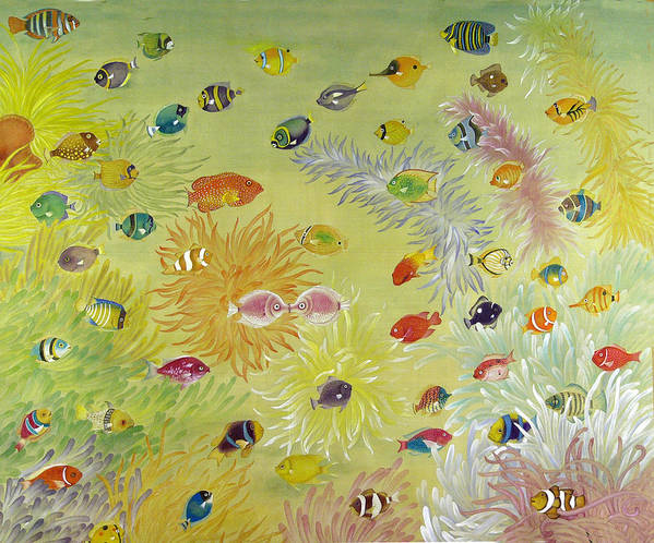 Fish Art Print featuring the painting Fishes And Coral by Ying Wong