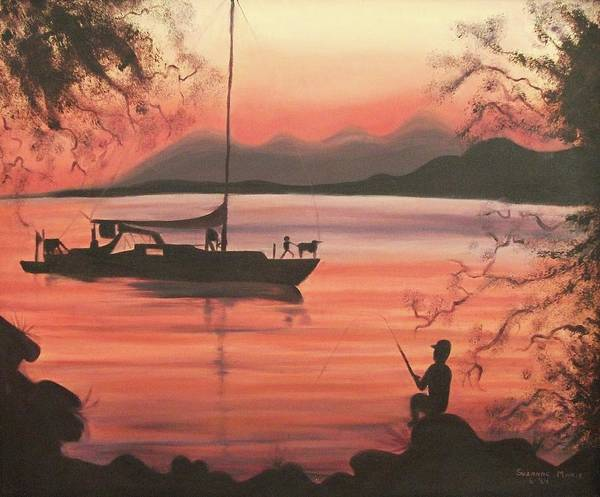 Fishing Art Print featuring the painting Fishing At Sunset by Suzanne Marie Leclair