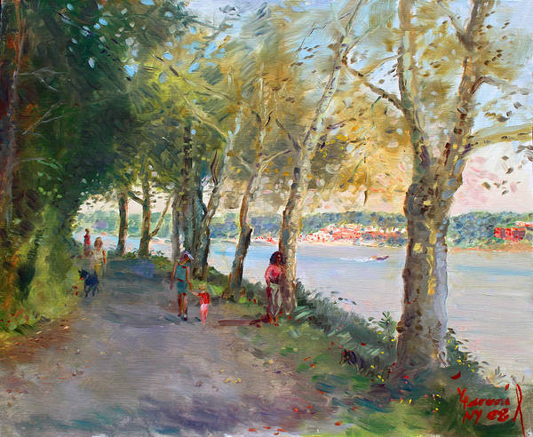 Strolling Art Print featuring the painting Going For A Stroll by Ylli Haruni