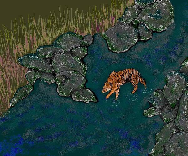 Tiger Art Print featuring the digital art Gone Fishing by Carole Boyd