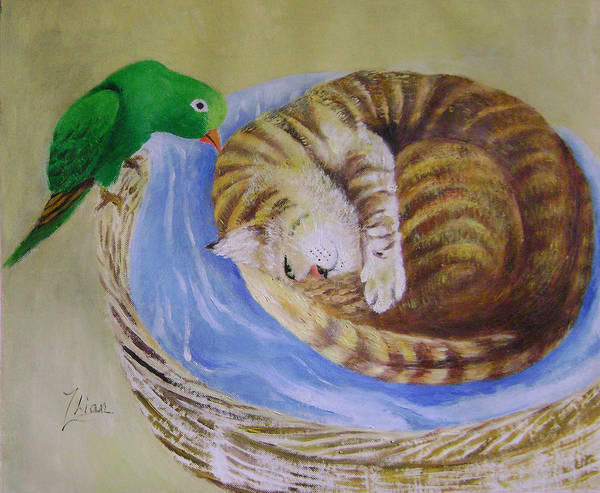 Fantasy Art Print featuring the painting Green Bird by Lian Zhen