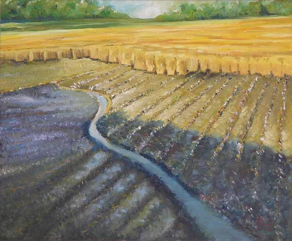 Landscape Art Print featuring the painting Harvesting by Wendy Chua