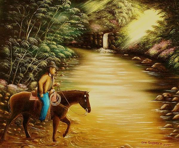 Horse And Rider Art Print featuring the painting Heading Home by Gene Gregory