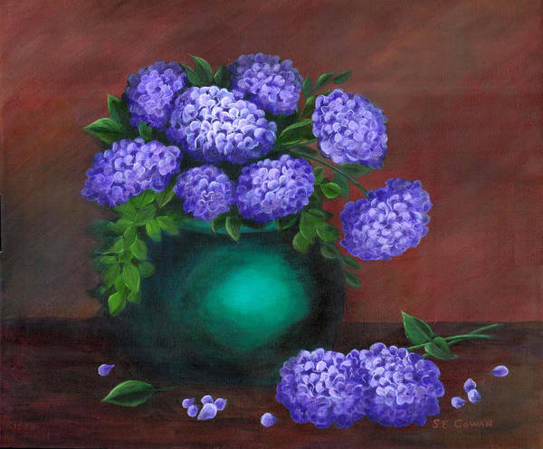Floral Art Print featuring the painting Heavenly Hydrangeas by SueEllen Cowan