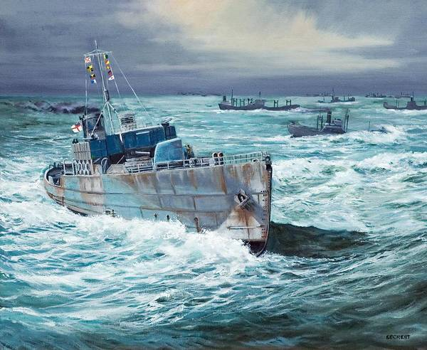 Hms Compass Rose Art Print featuring the painting Hms Compass Rose Escorting North Atlantic Convoy by Glenn Secrest